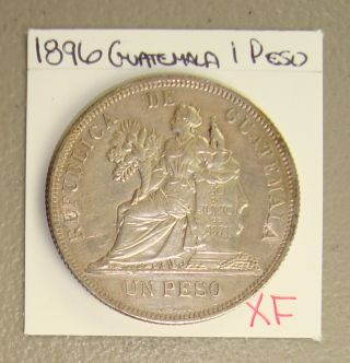 1896 Guatemala Silver 1 Peso Xf photo