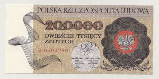 Poland 200000 Zlotych 1 - 12 - 1989 Pick 155 Unc Uncirculated Banknote photo