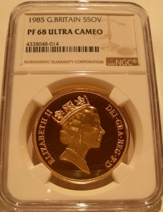 Great Britain 1985 Gold 5 Pounds Ngc Pf - 68uc photo