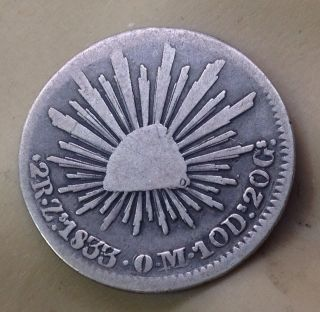 Circ ' D 1833 Republica Mexicana Silver 2 Reales Coin Eagle,  Libertad Hat Zs Om photo