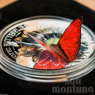 2016 Tanzania - Exotic Butterflies In 3d Cymothoe Hobarti.  999 Silver Proof Coin photo