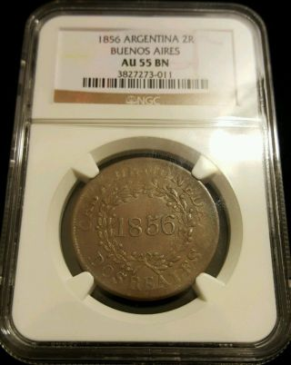 1856 Argentina 2 Reales Real Buenos Aires Ngc Au55 Bn Casa Moneda Rare Coin photo