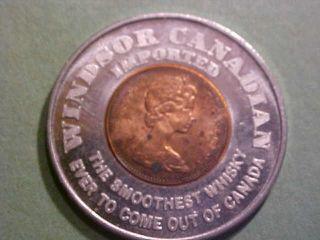 1970 Encased Canadian Cent Windsor Canadian Whishey 35 Mm Alu - Copper photo