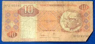 National Bank Of Angola 10 Kwanzas Banknote Antelope Issue Circulated M279 photo
