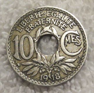 1918 France French 10 Centimes Coin Ww1 World War I Era photo