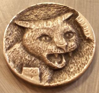 Hobo Nickel,  Miniature Metal Carving,  Kitty photo