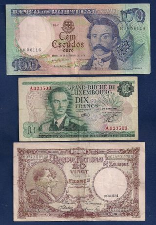 Portugal 100 Escudos,  Luxembourg 10 Fr 1967 P - 53,  Belgium 20 Francs 1945 photo
