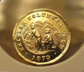 1879 Gold British Columbia Dollar Fantasy Souvenir By Birks photo