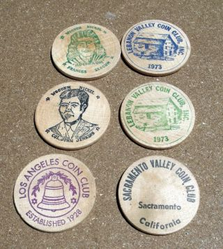 2 Vintage Coin Clubs Wooden Nickels Wilkes Barre photo