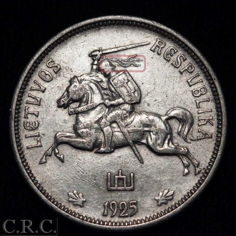 Silver Coin Lithuania 5 Litai 1925 Horserider Km 78 Estonia/ Latvia/ Lithuania photo