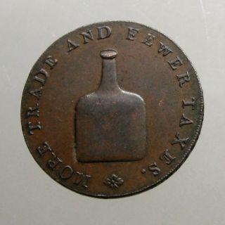 1790 ' S Copper Half Penny_conder Token_norwich - Norfolk_old Fashioned Bottle photo