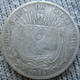 1875 Gw Costa Rica Silver 10 Centavos photo