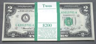(100) 1976 Uncirculated Two Dollar $2 Bills - Sequential Banded San Francisco Ca photo