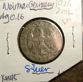 Weimar Germany 1926 - A Silver 2 Mark Coin Rare photo