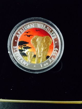 2015 1oz Somalian Colorized Sunset Elephant African Wildlife.  999pure Silver Coin photo