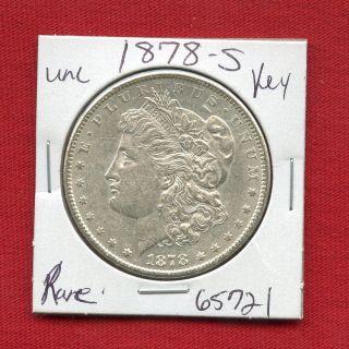 1878 S Bu Unc Morgan Silver Dollar 65721 Ms,  Coin Us Rare Key Date Estate photo