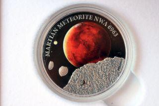 2016 Mars Martian Meteorite Nwa 6963 $1 Niue 1oz Silver Coin 39/500 photo