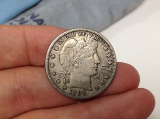 1908 - D Barber Half Dollar Vf,  Details photo