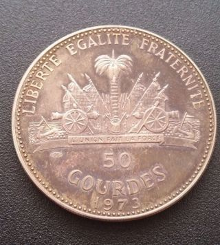 1973 Haiti Large Silver 50 Gourdes - Woman And Child photo