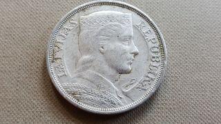 Latvia 5 Lati 1932 Silver Coin photo