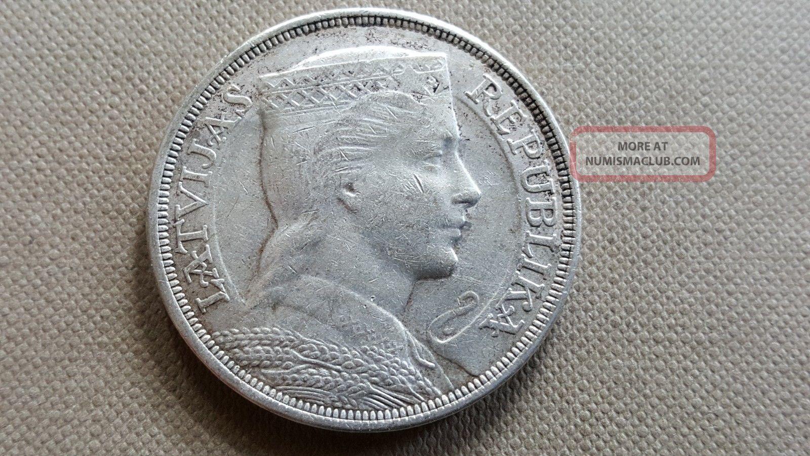 Latvia 5 Lati 1929 Silver Coin Estonia/ Latvia/ Lithuania photo