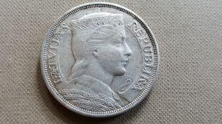 Latvia 5 Lati 1929 Silver Coin photo