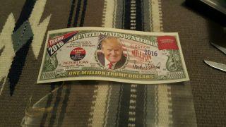 Donald Trump 2016 Million Dollar Bill,  In Protective Sleeve photo