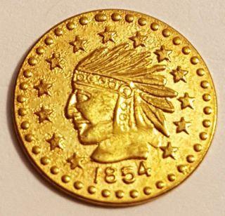 1854 California Gold Coin Indian Head Bear 50c Half Dollar Size Token Rare photo