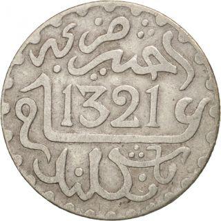 [ 408919] Morocco,  Abd Al - Aziz,  1/20 Rial,  1/2 Dirham,  1903,  Ef,  Silver, . photo