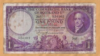 Scotland The Commercial Bank Of 1 Pound1947 photo