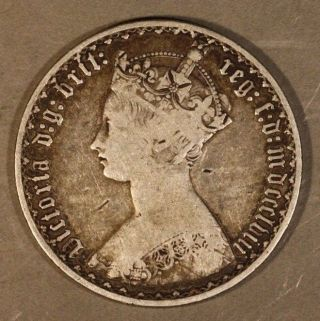 1858 Great Britain Gothic Florin Circulated Silver Us photo