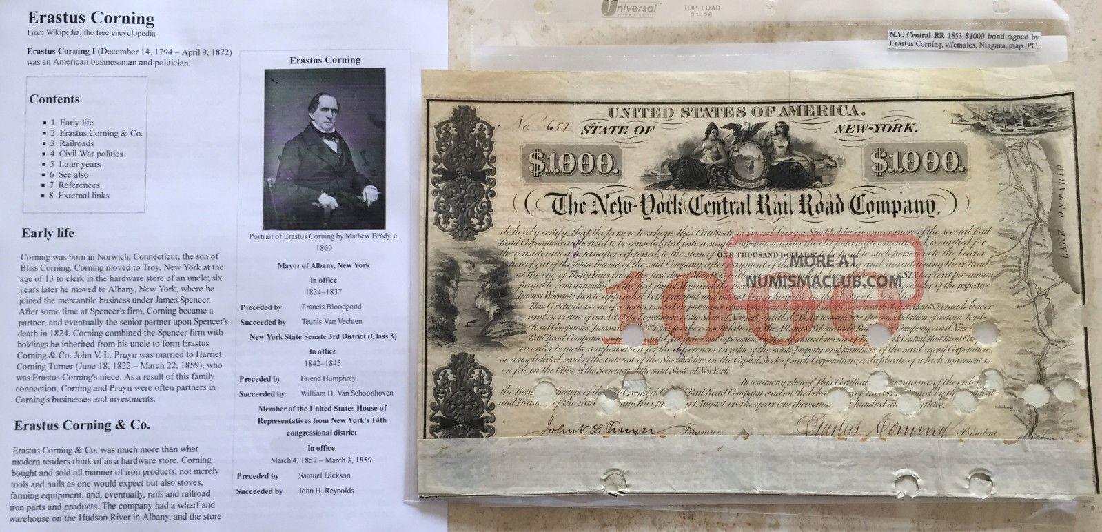 Civil War Congressman Ny Ironclad Industrialist Document Signed Railroad Bond Stocks & Bonds, Scripophily photo