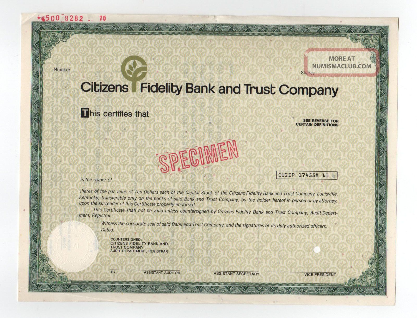 Specimen - Citizens Fidelity Bank And Trust Company Stock Certificate Stocks & Bonds, Scripophily photo