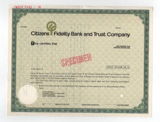 Specimen - Citizens Fidelity Bank And Trust Company Stock Certificate photo