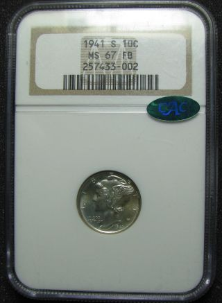 Pl 1941 - S Winged Liberty (mercury) Dime Ngc Ms67fb Cac Registry Quality photo