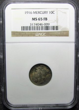 1916 - P Mercury Dime Ngc Ms65fb photo