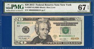 Fancy Serial 2013 $20 York - Pmg Gem Uncirculated Cu 67epq - C2c photo