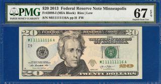 Fancy Serial 2013 $20 Minneapolis - Pmg Gem Uncirculated Cu 67epq - C2c photo