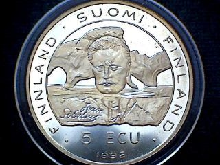 Finland 1992 5 Ecu,  Csce / Kfze Conference 20th Anniversary,  Unc In Capsule photo