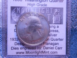 1933 Washington Hi Grade Quarter Daniel Carr Fantasy Issued Overstrike 143 Made photo