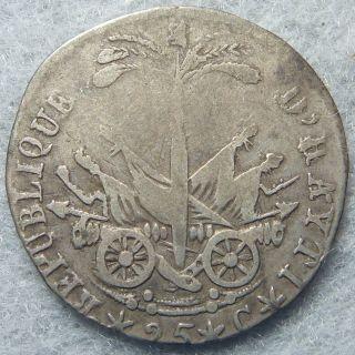 1818 (an 15) Haiti 25 Centimes Silver Km 16 photo