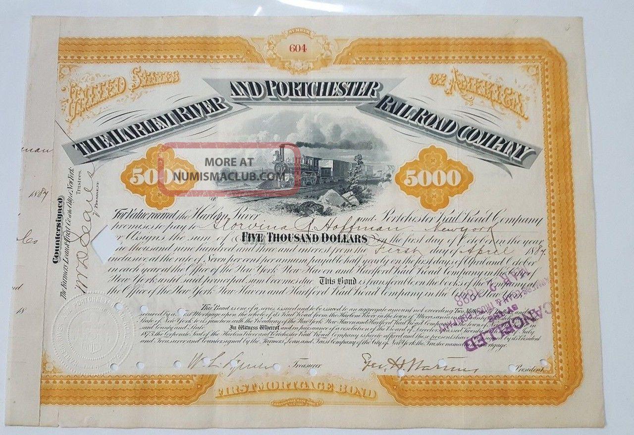 Harlem River & Portchester Railroad Bond Stock Certificate Transportation photo