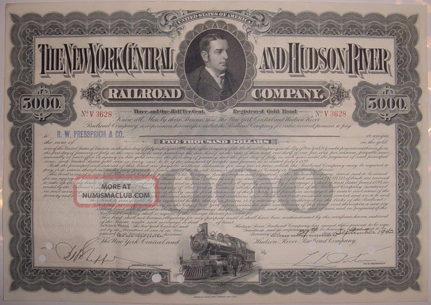 $5,  000 1940 ' S York Central And Hudson River Railroad Bond Stock Certificate Transportation photo