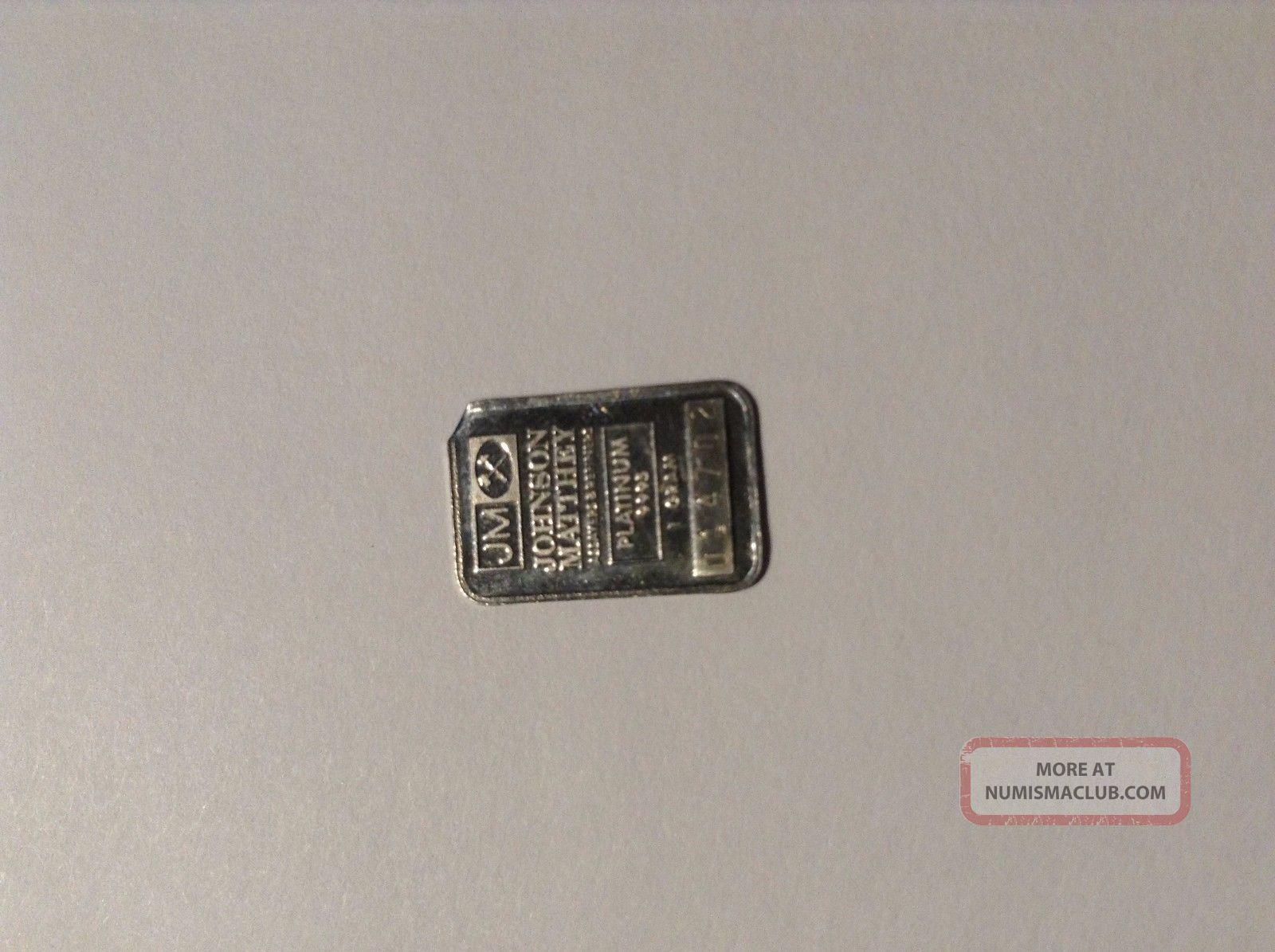 1 Gram Johnson Matthey Platinum Bar  9995 Fine 114702