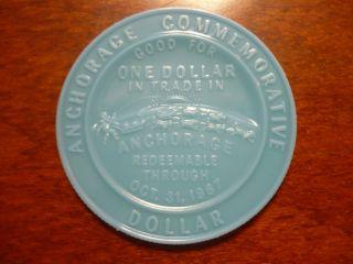 1967 Anchorage Alaska Centennial Trade Dollar North To The Future Token Coin photo