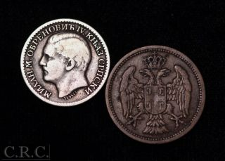 Serbia: 1904 2 Para & 1879 50 Para Silver photo