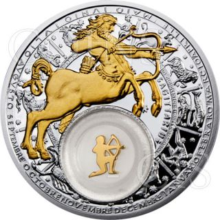 Belarus 2013 20 Rubles Zodiac Gilded Sagittarius Proof Silver Coin photo