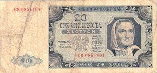 1948 Poland 20 Zlotych Note. photo