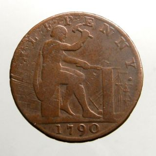1790 Copper Halfpenny_conder Token_vulcan Hammering On Anvil_warwickshire photo
