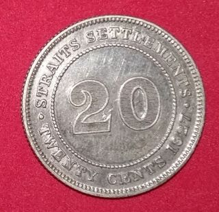 Straits Settlements 1927 20 Cent Silver Coin. photo